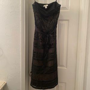 Loft Black Strapless dress with waist tie